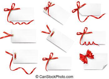 ensemble, de, carte, notes, à, rouges, cadeau, arcs, à,...