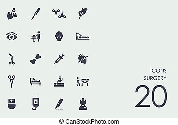 ensemble, de, chirurgie, icônes