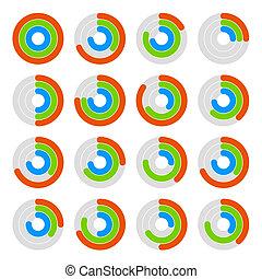 ensemble, de, circulaire, coloré, progrès, diagram., vecteur