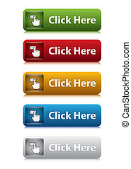 ensemble, de, cliquez ici, bouton, pour, site web, 5,...