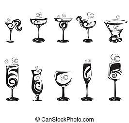 ensemble, de, cocktail, silhouette, lunettes