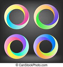 ensemble, de, coloré, cercle, icônes