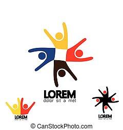 ensemble, de, coloré, gens, icônes, dans, cercle, -, vecteur, concept, école, enfants