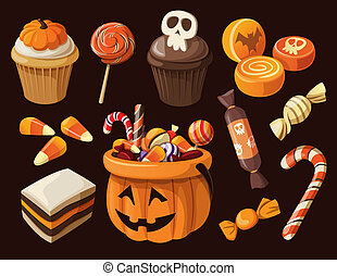 ensemble, de, coloré, halloween, bonbons