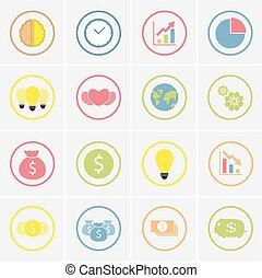 ensemble, de, coloré, icones affaires, dans, cercle