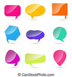 ensemble, de, coloré, parole, bulles
