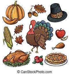 ensemble, de, coloré, thanksgiving, icônes