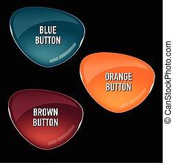 ensemble, de, coloré, verre, boutons, pour, toile, interface.