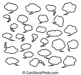ensemble, de, comique, nuages