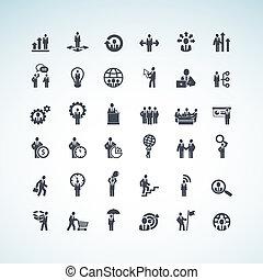 ensemble, de, concept affaires, icônes