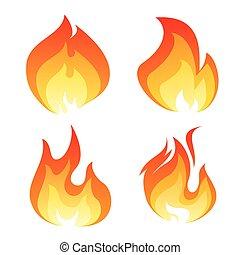 ensemble, de, couleur, flamme, icône
