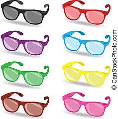 ensemble, de, couleur, lunettes soleil