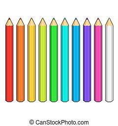 ensemble, de, crayons colorés