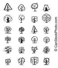 ensemble, de, croquis, arbres, pour, ton, conception