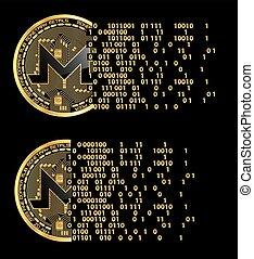 ensemble, de, crypto, monnaie, monero, doré, symboles