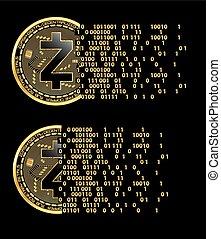 ensemble, de, crypto, monnaie, zcash, doré, symboles