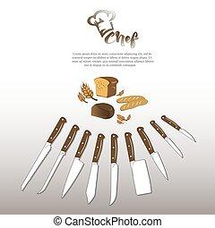 Ensemble couteaux types cuisine diff rent ensemble vectors cuisine types knives - Ensemble couteaux de cuisine ...