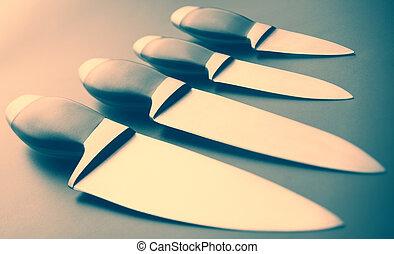 ensemble, de, cuisine, couteaux