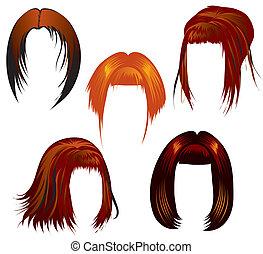 ensemble, de, dénommer cheveux