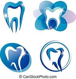ensemble, de, dent, stylisé, icônes
