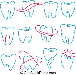 ensemble, de, dents, dent, icônes, blanc, arrière-plan., boîte, être, utilisé, comme, logo, pour, dentaire, dentiste, ou, stomatology, clinique