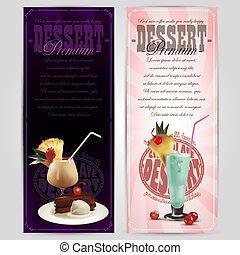 ensemble, de, dessert, étiquettes