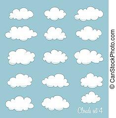 ensemble, de, dessin animé, clouds., vecteur
