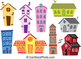 ensemble, de, dessin animé, maison, et, bâtiment