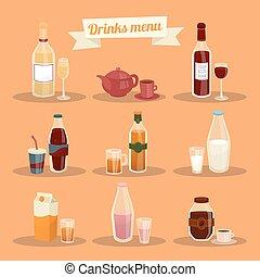 ensemble, de, différent, boissons, dans, articles