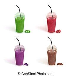 ensemble, de, différent, boissons, dans, tasse plastique, à, couvercle, et, straws., smoothies, à, myrtilles, fraises, kiwi, chocolate., vecteur, coloré, collection, blanc, fond, dans, plat, style.