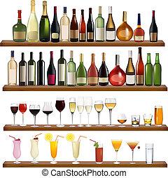 ensemble, de, différent, boissons, et, bouteilles