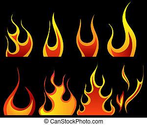 ensemble, de, différent, brûler, motifs
