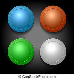 ensemble, de, différent, couleur, vide, boutons, template., vecteur