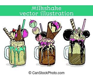 ensemble, de, différent, milkshakes., chocolat, fraise,...