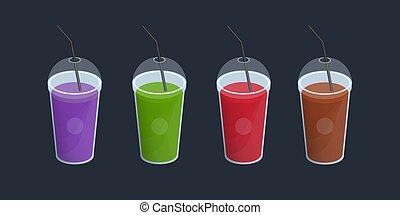 ensemble, de, différent, smoothies, dans, tasse plastique, à, couvercle, et, straws., boissons, cocktails, boisson, de, orange, pourpre, vert, rouges, color., vecteur, coloré, collection, sur, noir, arrière-plan.
