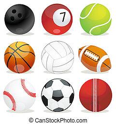 ensemble, de, différent, sports, balles