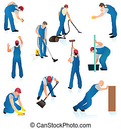 ensemble, de, dix, professionnel, nettoyeurs