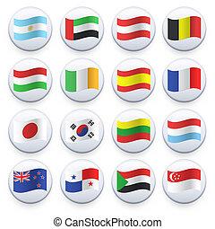 ensemble, de, drapeaux, imprimé, blanc, button., vecteur, design.