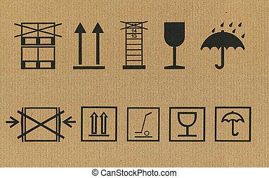 ensemble, de, emballage, symboles