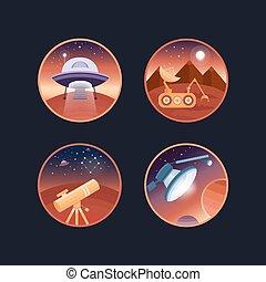 ensemble, de, espace, icônes