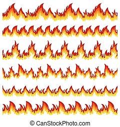ensemble, de, flamme