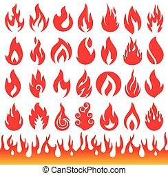 ensemble, de, flamme, icons., brûler, symbols.