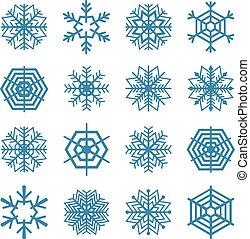 ensemble, de, flocons neige, vecteur, illustrat