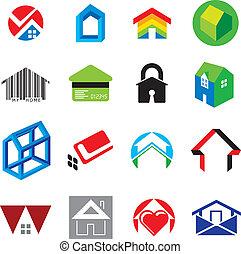 ensemble, de, foyer maison, icônes concept