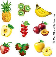 ensemble, de, fruit