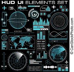 ensemble, de, futuriste, graphique, interface utilisateur, hud