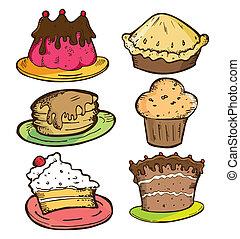 ensemble, de, gâteau, griffonnage