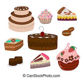 ensemble, de, gâteaux