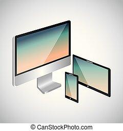 ensemble, de, gadgets, technologies, numérique, sensible, électronique
