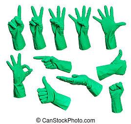 ensemble, de, gants caoutchouc, signes main